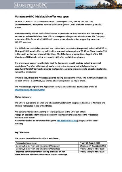MainstreamBPO Share Offer now open