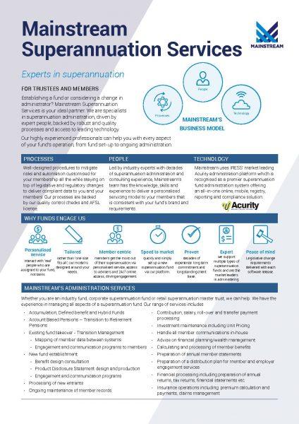 Mainstream Superannuation Services