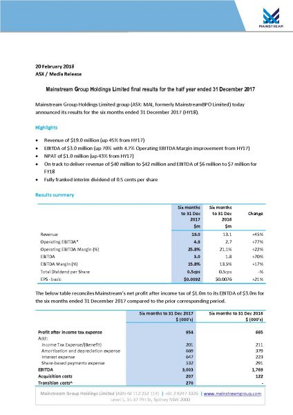 Mainstream Group Holdings Limited final results for the half year ended 31 December 2017
