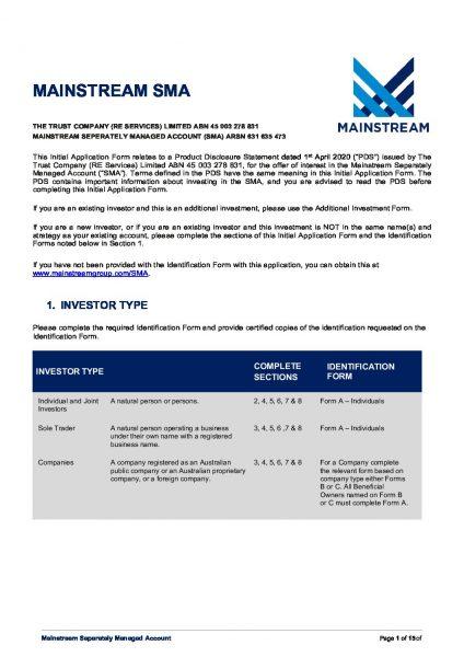 Mainstream SMA Application Form
