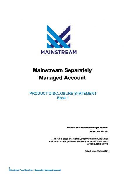 Mainstream SMA PDS - Book 1 and Application Form